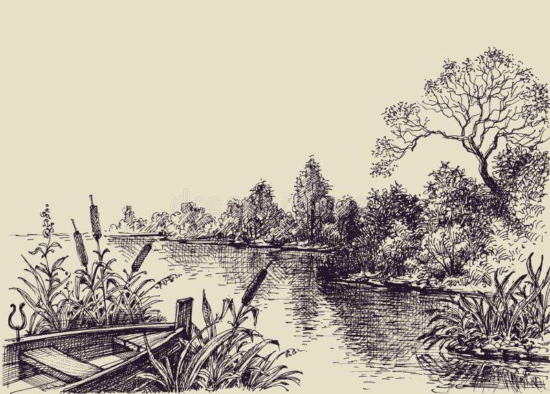 Cena do fluxo do rio ilustração do vetor