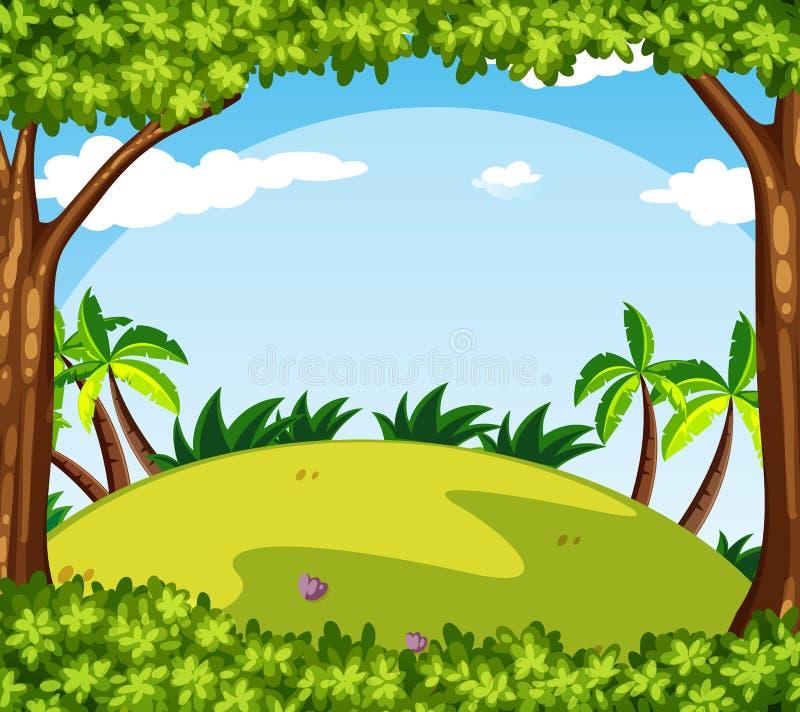 Cena do fundo com as árvores no monte ilustração do vetor