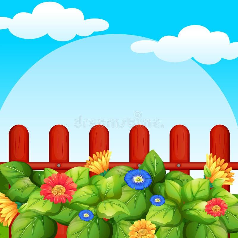 Cena do fundo com as flores no jardim ilustração royalty free
