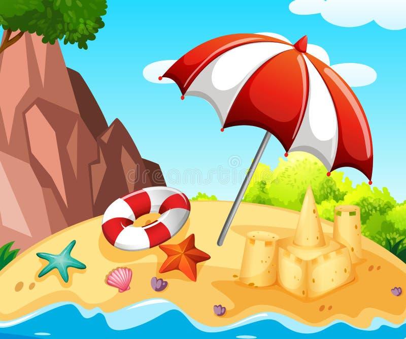 Cena do fundo com o castelo de areia na praia ilustração royalty free