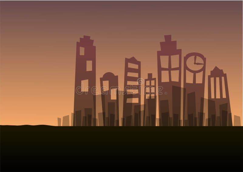 Cena do fundo da silhueta do por do sol da paisagem da arquitetura da cidade ilustração stock