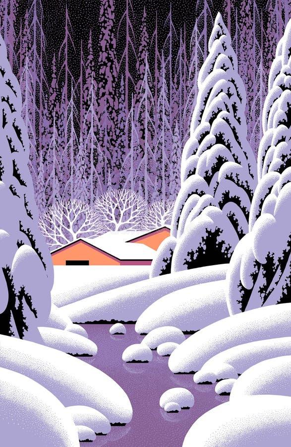 Cena do inverno com celeiro amarelo ilustração do vetor