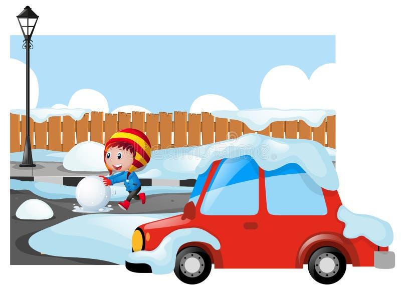 Cena do inverno com a criança na estrada nevado ilustração royalty free