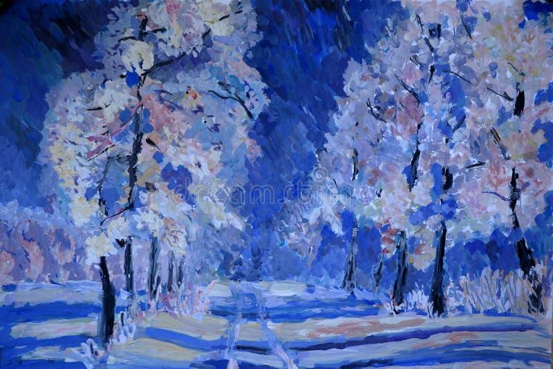 Cena do inverno com neve e as árvores azuis, pintura do guache ilustração royalty free