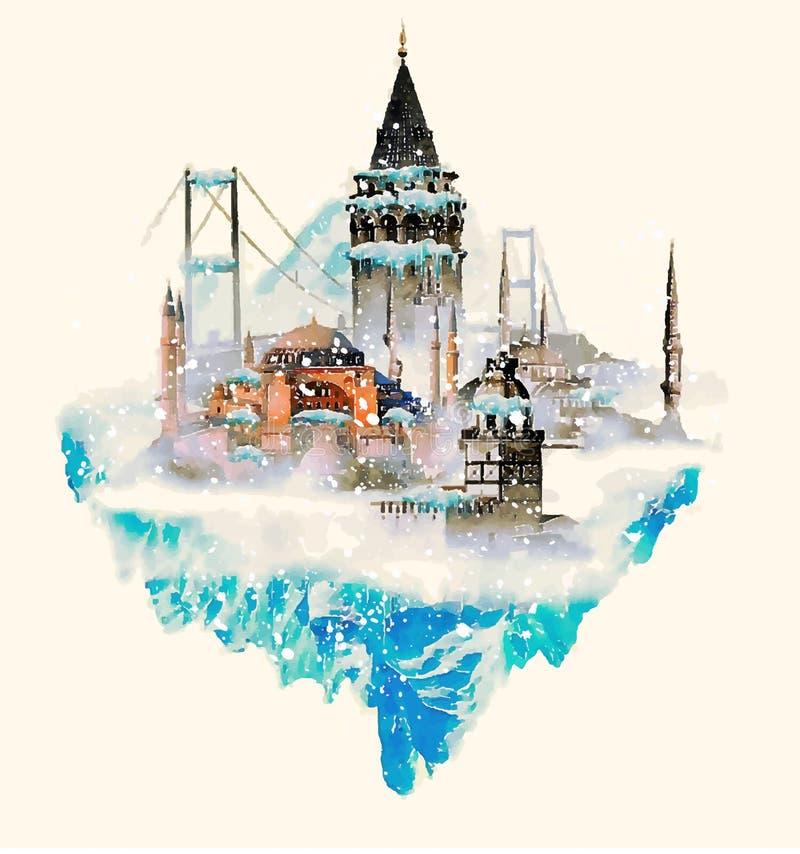 cena do inverno da cidade de Istambul ilustração royalty free