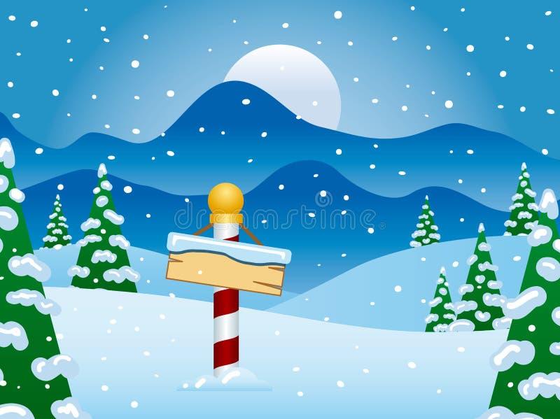 Cena do inverno do Pólo Norte com neve ilustração do vetor