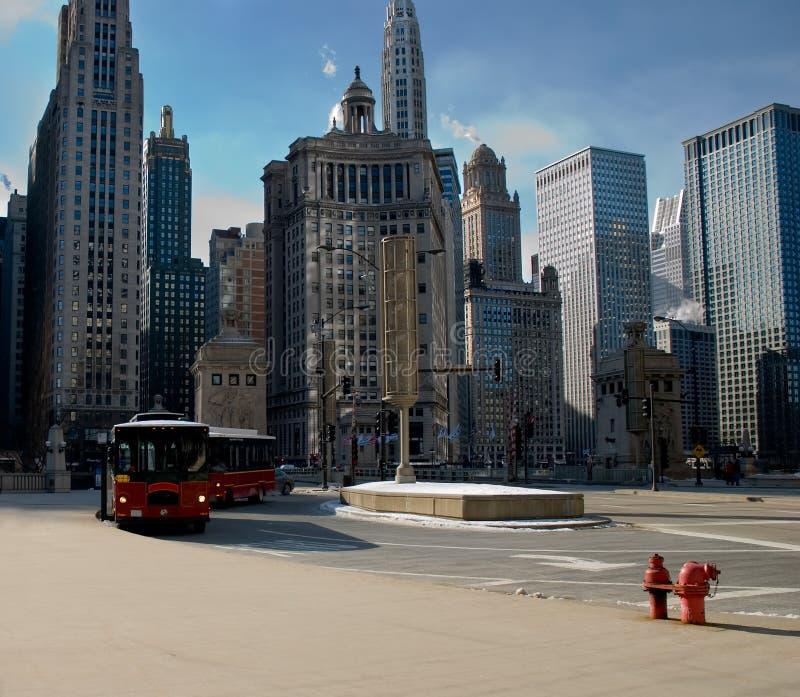 Cena do inverno em Chicago da baixa fotografia de stock royalty free