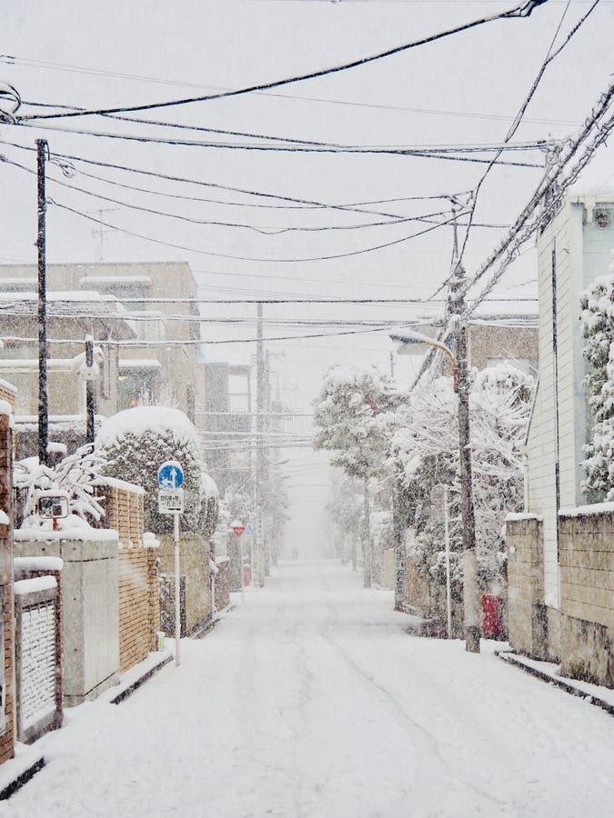 Cena do inverno no distrito de vida do Tóquio fotos de stock