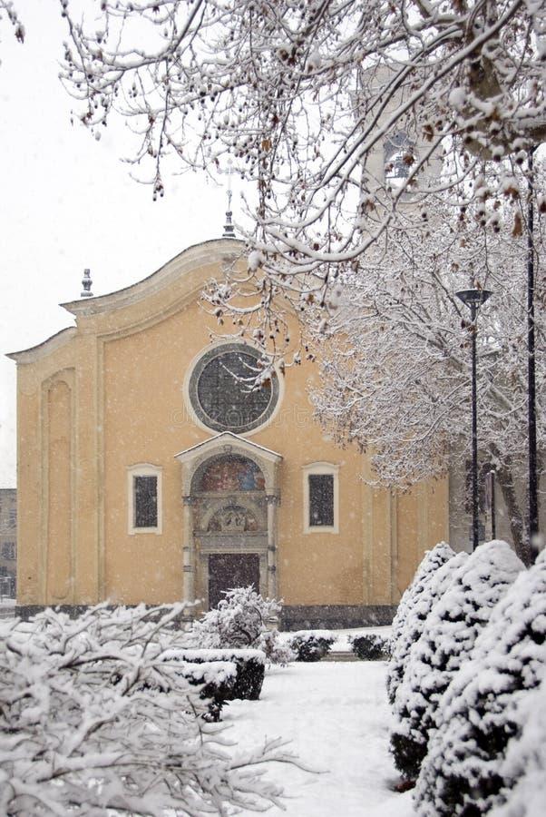 Cena do inverno - a queda de neve imagem de stock