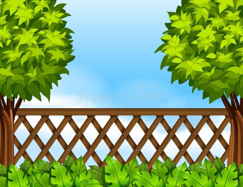 Cena do jardim com cerca e árvores ilustração stock