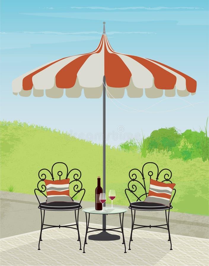 Cena do jardim do quintal com cadeiras do ferro forjado e o guarda-chuva listrado ilustração royalty free