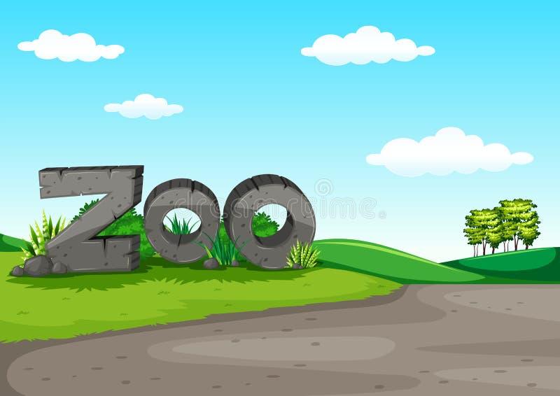Cena do jardim zoológico com campo verde ilustração royalty free