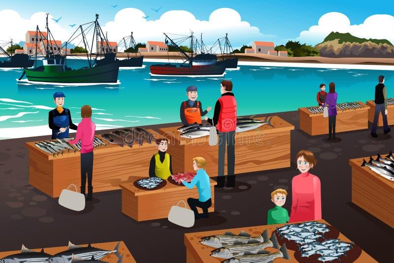 Cena do mercado de peixes ilustração royalty free