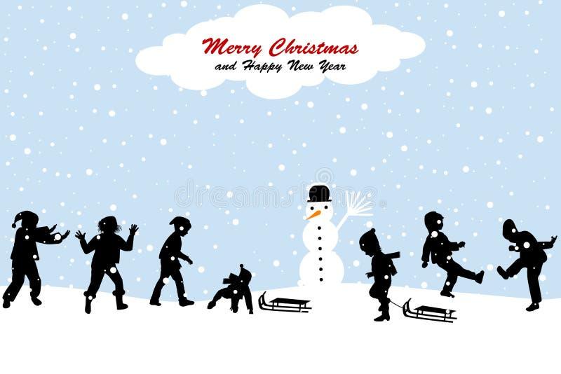 Cena do Natal com as crianças que têm o divertimento na neve ilustração stock