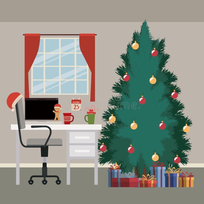Cena do Natal com fundo da janela e desktop do escritório com computador de secretária e a árvore de Natal grande com presentes ilustração stock