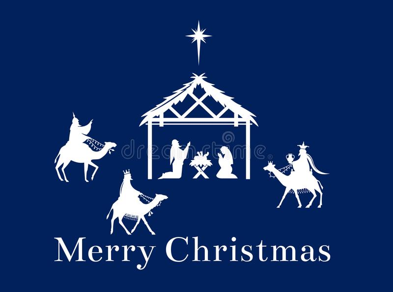 Cena do Natal de Jesus no comedoiro ilustração royalty free