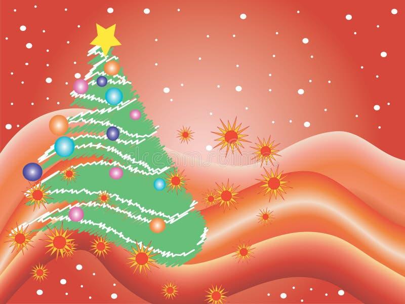 Cena do Natal em um fundo vermelho ondulado ilustração stock