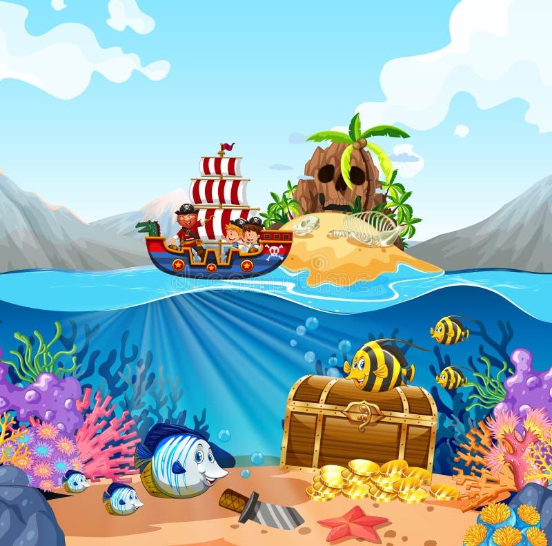 Cena do oceano com as crianças no navio de viquingue ilustração do vetor