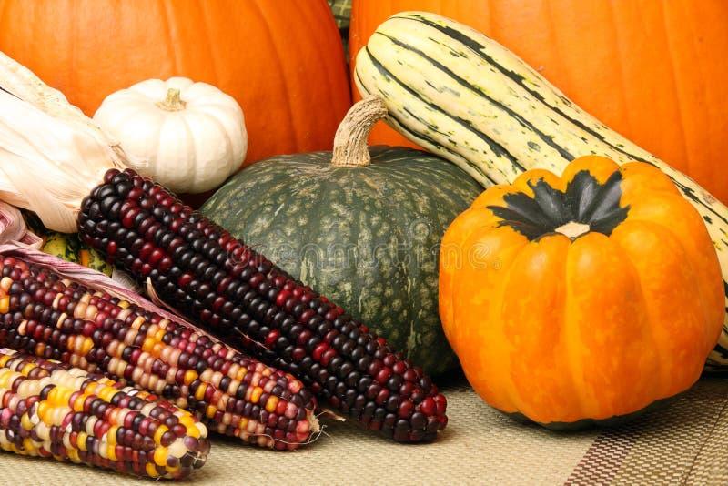 Cena do outono com abóboras, milho e polpa fotos de stock