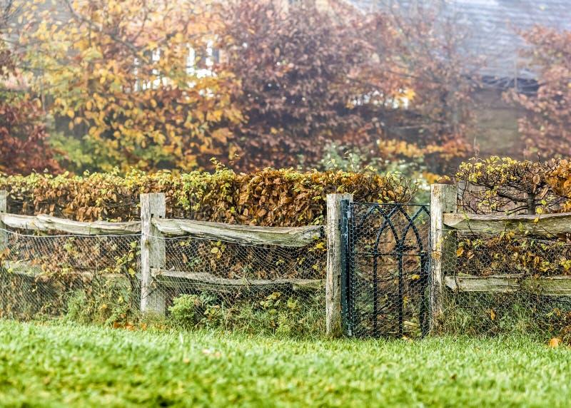 Cena do outono uma casa da casa de campo do campo com cerca e porta de madeira fotografia de stock royalty free