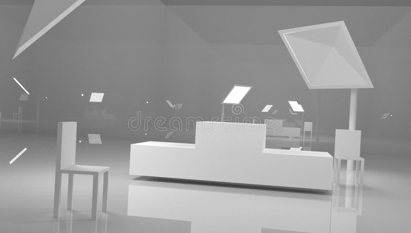 Cena do pódio ou cena do suporte da coluna do círculo 3D e suporte do vencedor no estúdio no fundo mínimo cinzento ou branco ilustração do vetor