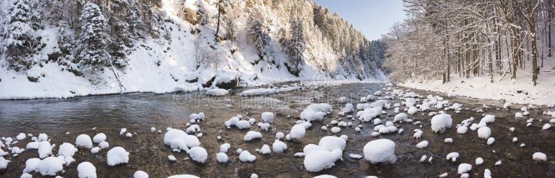 Cena do panorama com gelo e neve no rio em Baviera imagem de stock royalty free