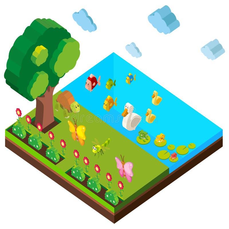 Cena do parque com muitos animais no projeto 3D ilustração royalty free