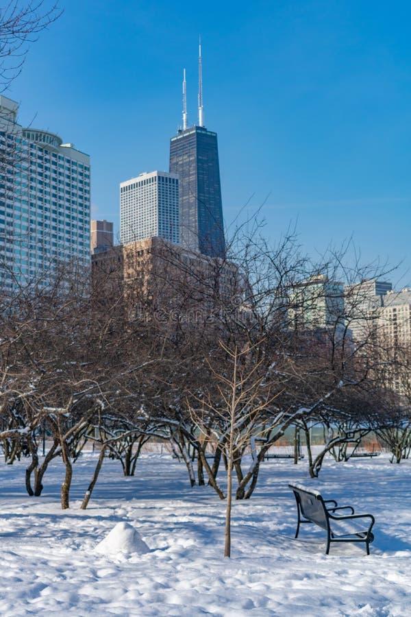 Cena do parque do inverno com o banco em Jane Addams Memorial Park em Chicago imagem de stock