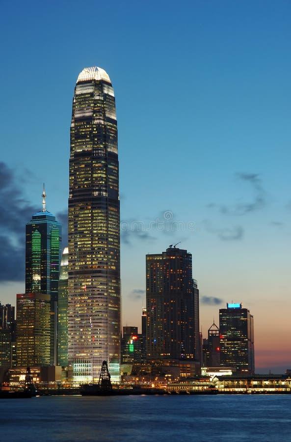 Cena do por do sol de Hong Kong fotografia de stock