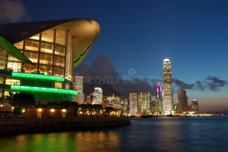 Cena do por do sol de Hong Kong fotografia de stock royalty free
