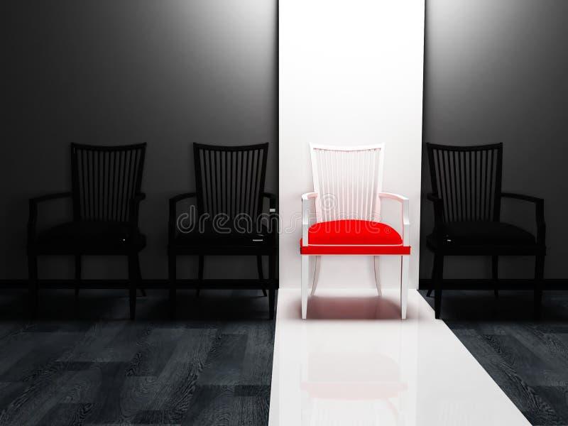 Cena do projeto interior com quatro cadeiras ilustração stock