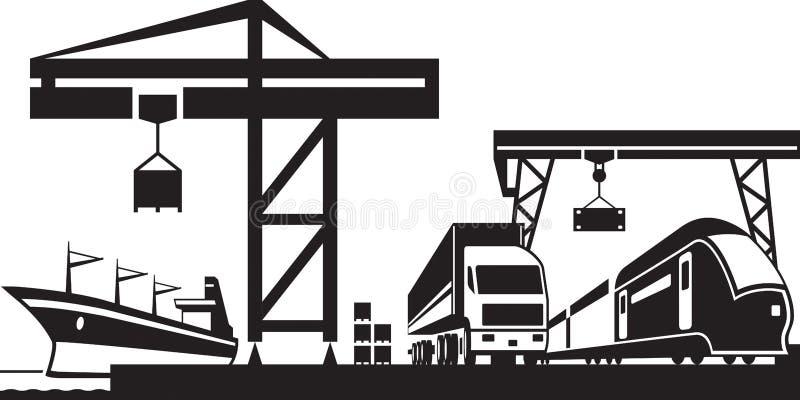 Cena do terminal da carga ilustração do vetor