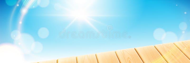 Cena do verão com a tabela clara de madeira O céu claro azul com sol irradia no fundo do bokeh Elementos do vetor para ilustração stock