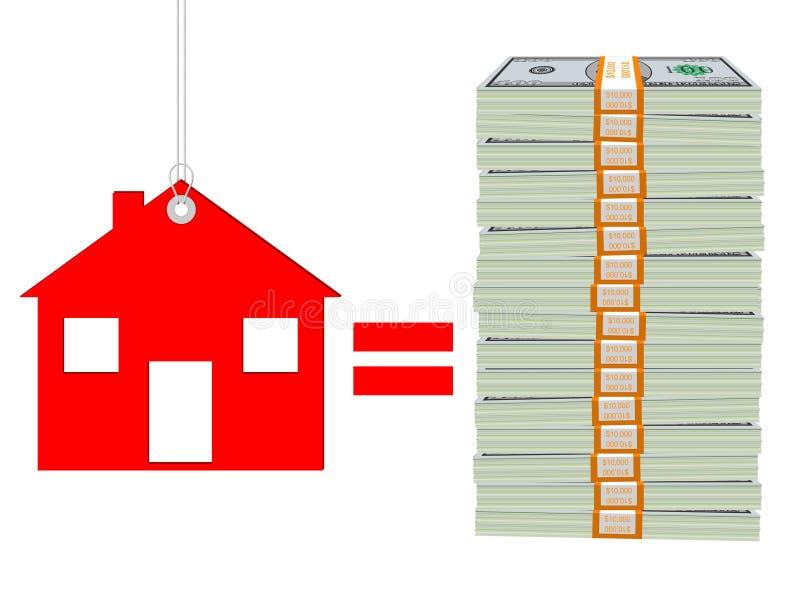 Cena domu - koszt budynek mieszkalny ilustracja wektor