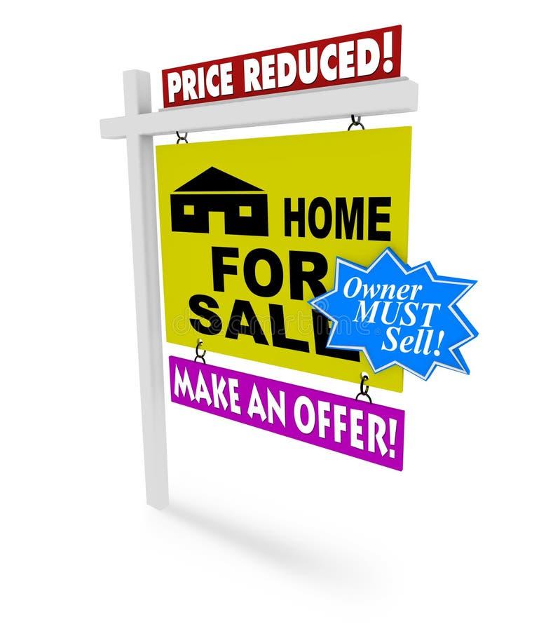 cena domu zmniejszający sprzedaży znak royalty ilustracja