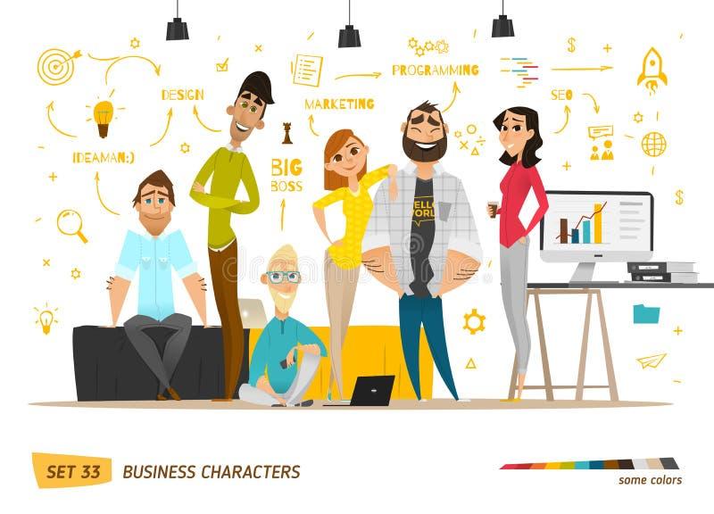 Cena dos caráteres do negócio ilustração do vetor
