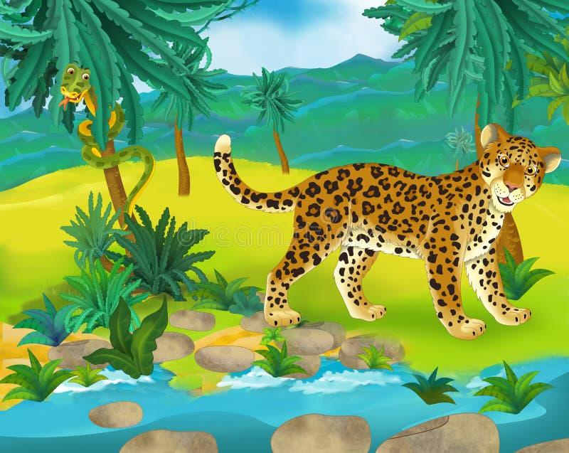 Cena dos desenhos animados - animais selvagens de África - leopardo ilustração do vetor