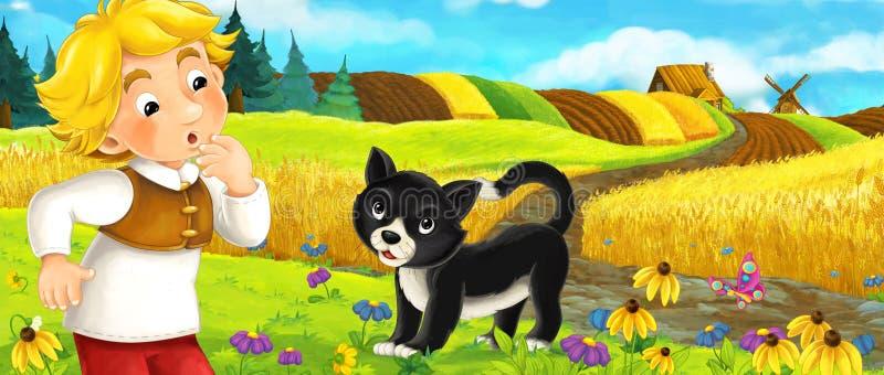 Cena dos desenhos animados - camponês e um gato no prado que tem o divertimento ilustração stock