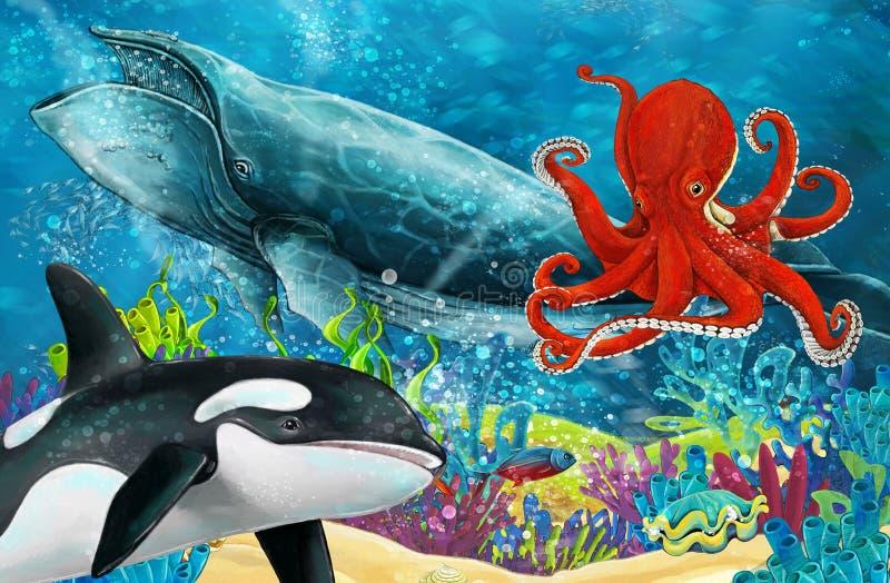 Cena dos desenhos animados com a baleia da baleia e de assassino e o polvo perto do recife de corais ilustração royalty free
