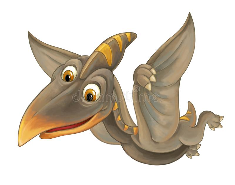 Cena dos desenhos animados com dinossauro do voo - pterodátilo no backgr branco ilustração stock