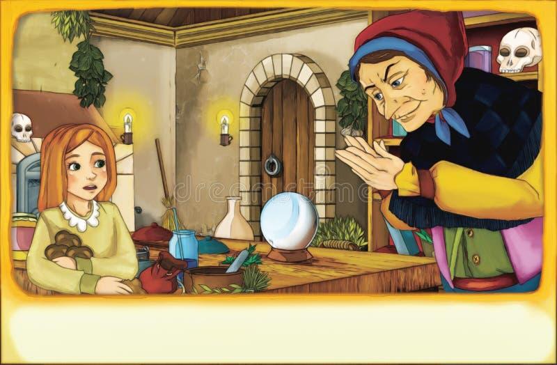 Cena dos desenhos animados com a menina da jovem criança que fala à mulher adulta que olha como uma bruxa na sala velha da cozinh ilustração stock