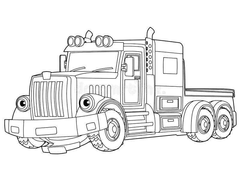 Cena dos desenhos animados com o caminhão de reboque do vetor no fundo branco - com página colorindo ilustração royalty free