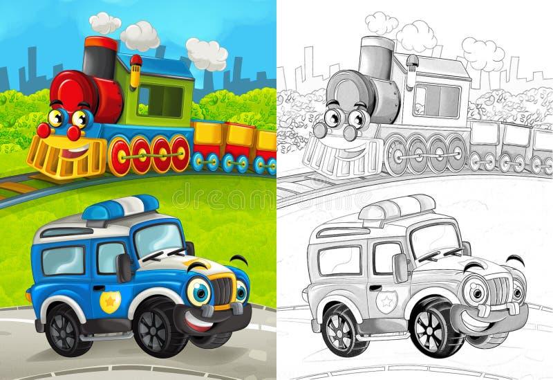Cena dos desenhos animados com o carro de polícia feliz na estrada e no trem com página colorindo ilustração do vetor