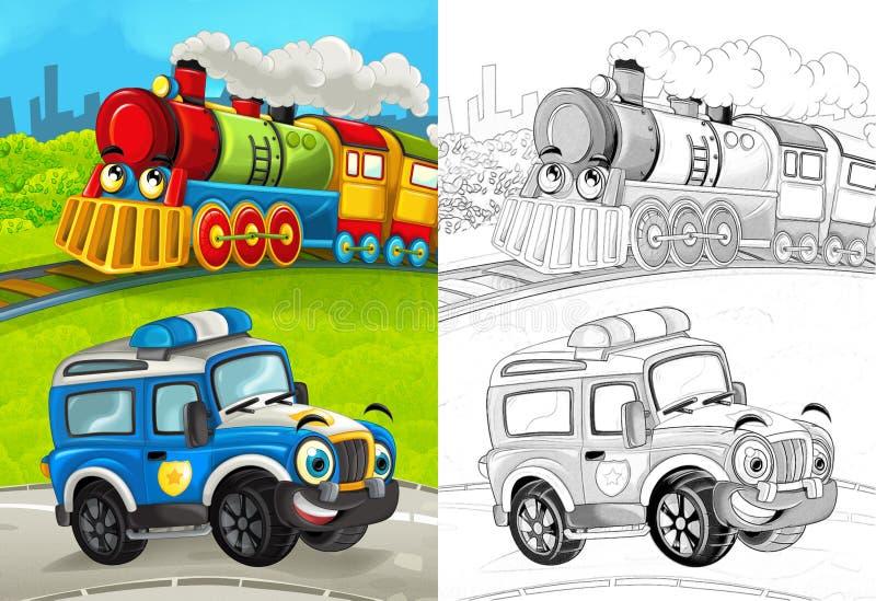 Cena dos desenhos animados com o carro de polícia feliz na estrada e no trem com página colorindo ilustração royalty free
