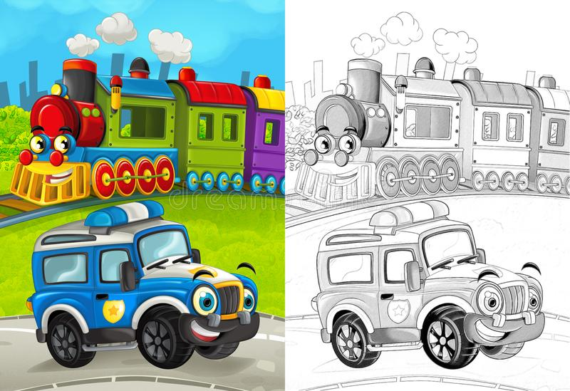 Cena dos desenhos animados com o carro de polícia feliz na estrada e no trem com página colorindo ilustração stock