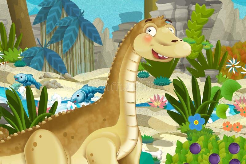 Cena dos desenhos animados com o diplodocus do apatosaurus do dinossauro com algum outro dinossauro na selva ilustração royalty free