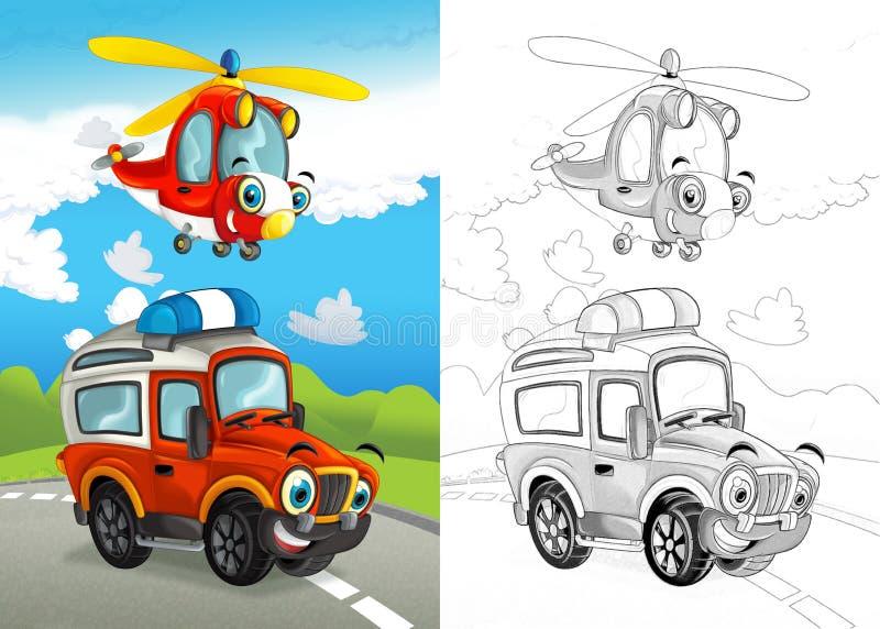Cena dos desenhos animados com o feliz fora do carro da estrada na estrada e no helicóptero plano com página colorindo ilustração stock
