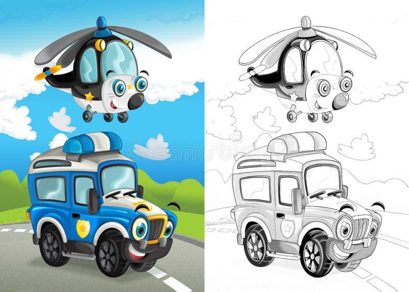Cena dos desenhos animados com o feliz fora do carro da estrada na estrada e no helicóptero plano com página colorindo ilustração royalty free