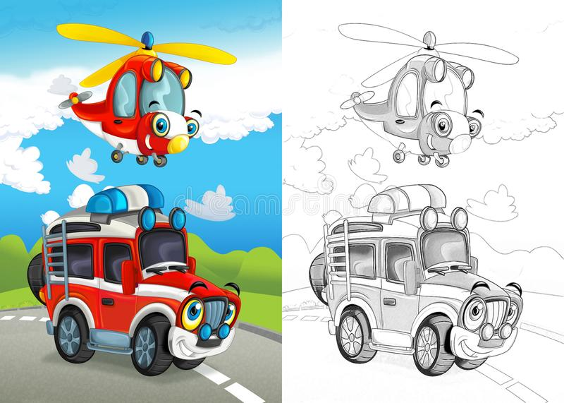 Cena dos desenhos animados com o feliz fora do carro da estrada na estrada e no helicóptero plano com página colorindo ilustração do vetor