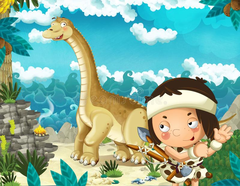Cena dos desenhos animados com o homem das cavernas perto da costa de mar que olha algum diplodocus gigante feliz e engraçado do  ilustração do vetor